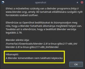 Openshot és Blender hiba